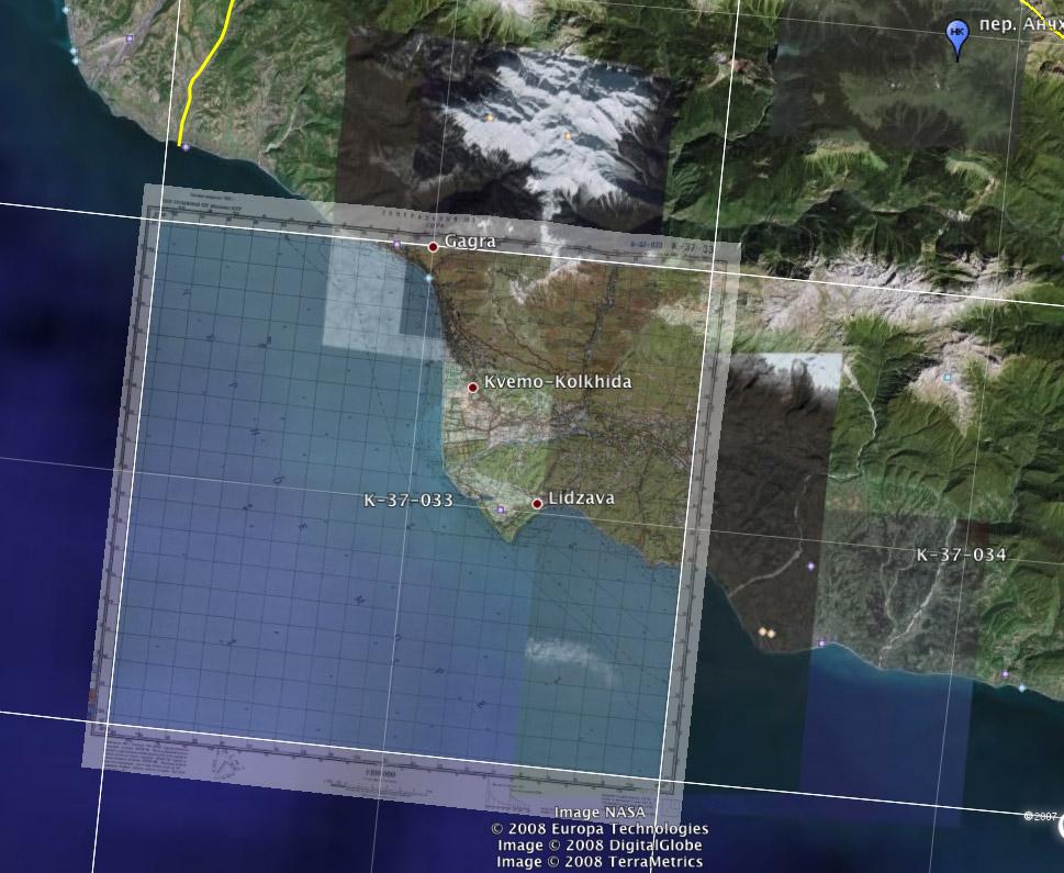 Натягиваем генштабовскую карту на google earth