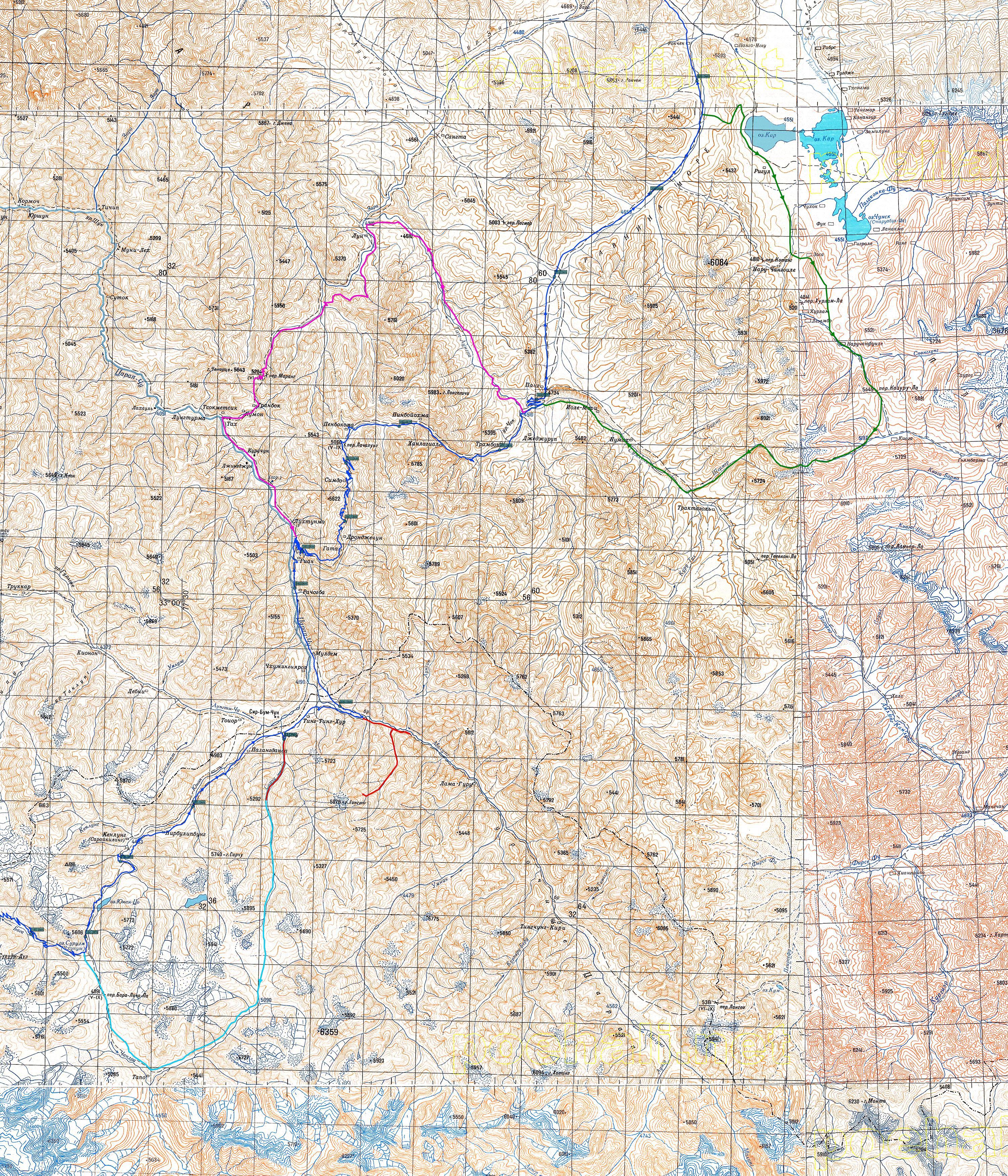 Карта детского похода в Индийские Гималаи и Ладакх, GingerTea, 2016