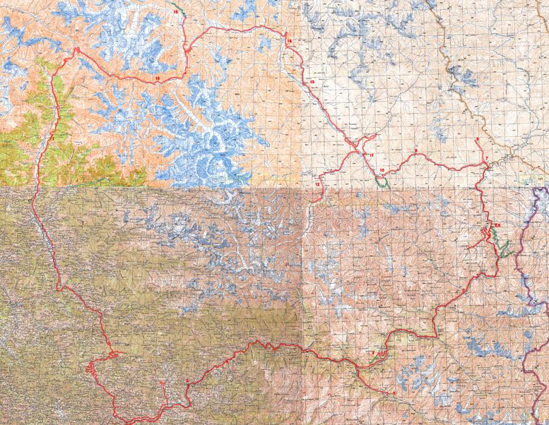 Топографическая карта велосипедного похода по Лахулу, Спити, Куллу и Киннауру