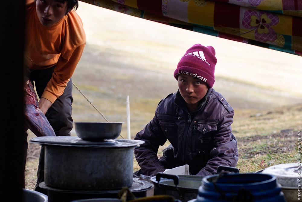 мальчик-тибетец режет мясо в пастушьей палатке