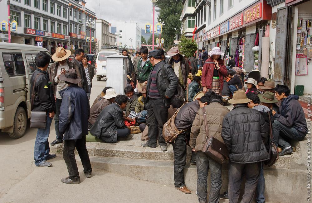 покупка и продажа кордицепса в маленьком городе в Сычуани, Китай