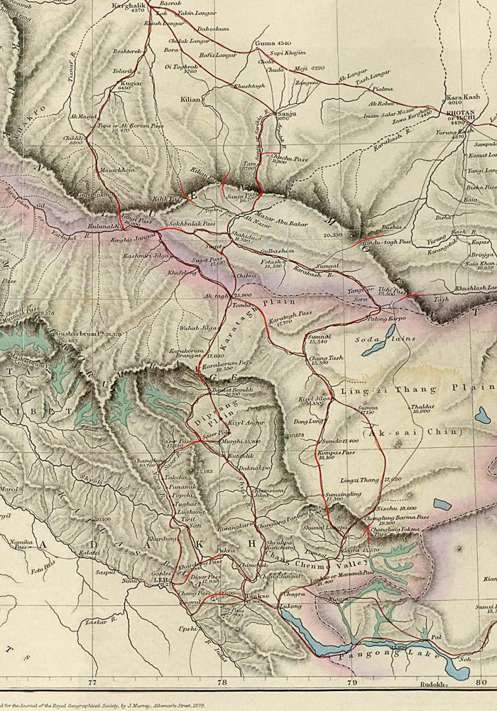 карта караванных троп через Каракорум, из Леха в Яркенд