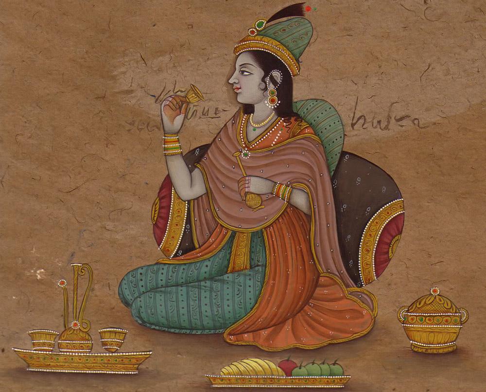 женщина на могольской миниатюре