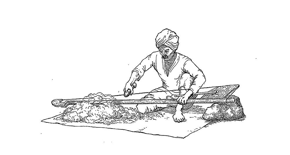дхунки - инструмент для очистки и взбивания хлопка в Индии и Непале