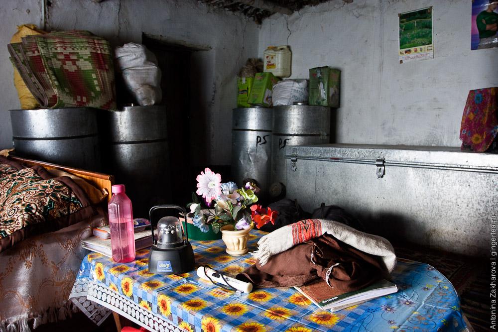 дом в деревне Ханго в Индии, house interior in Hango village
