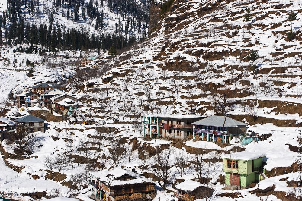 дома в долине Куллу зимой
