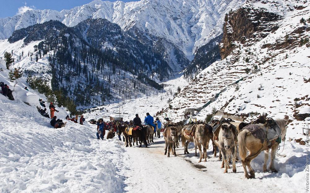 индийские туристы в деревне Коти по дороге на Ротанг зимой