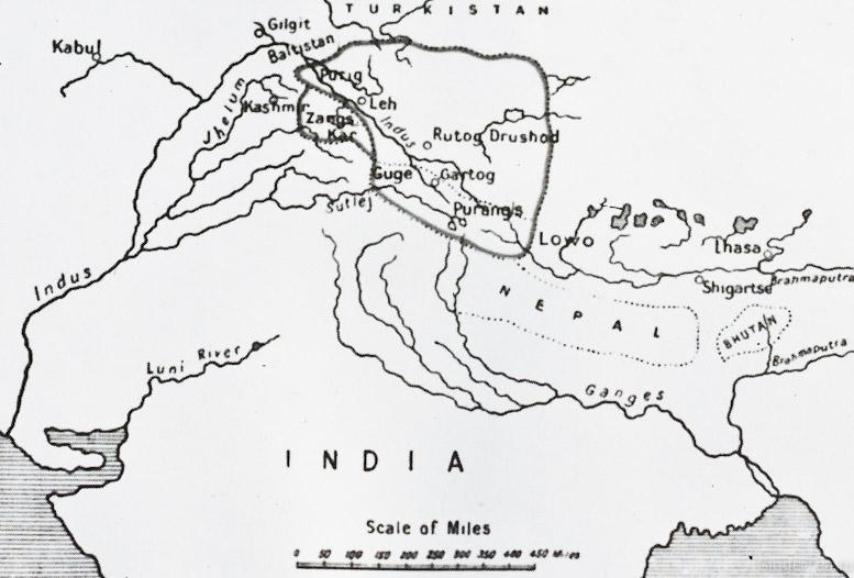 карта Ладакха во времена Ньима Гона