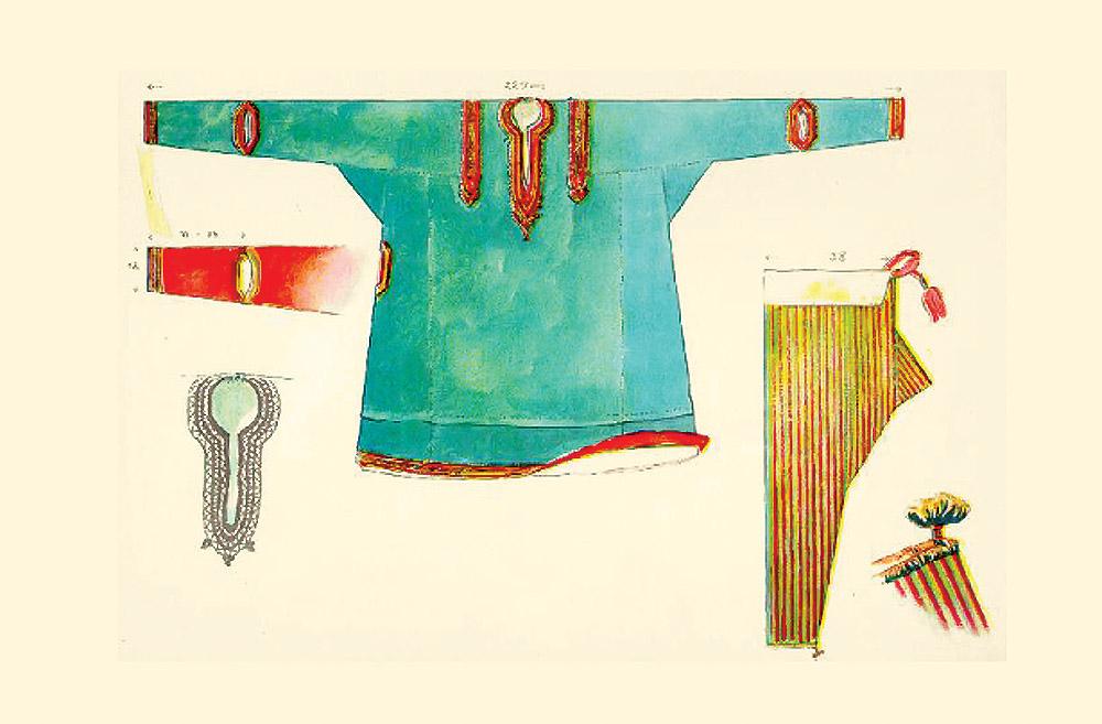 национальный костюм в Индии, шаровары и курта в Кашмире, иллюстрация Макса Тильке