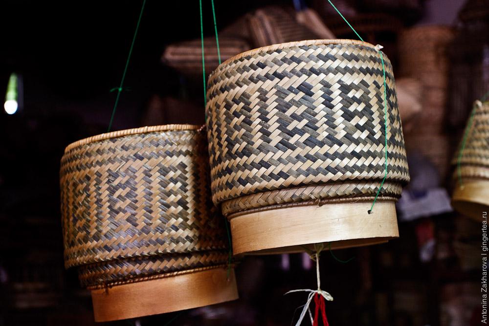 бамбуковая корзинка для клейкого риса в Лаосе