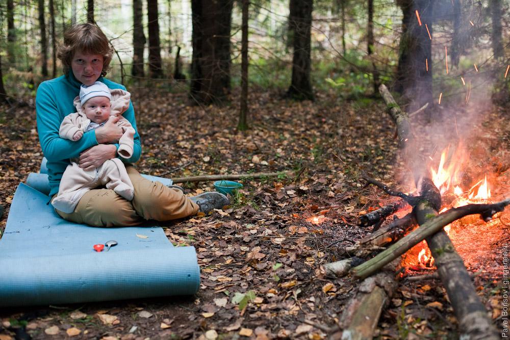 ночевка в палатке с грудным ребенком