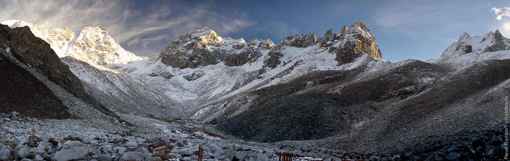 панорама цирка под перевалом Розовой долины у горы Гьеньен, вид на север, Сычуан title=