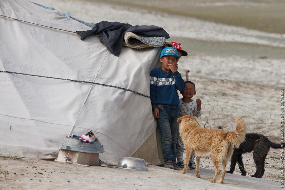 дети-казахи возле юрты в Китайском Тянь-Шане