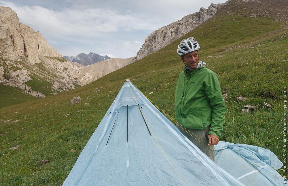 поход в китайском Тянь-шане, легкая палатка своими руками