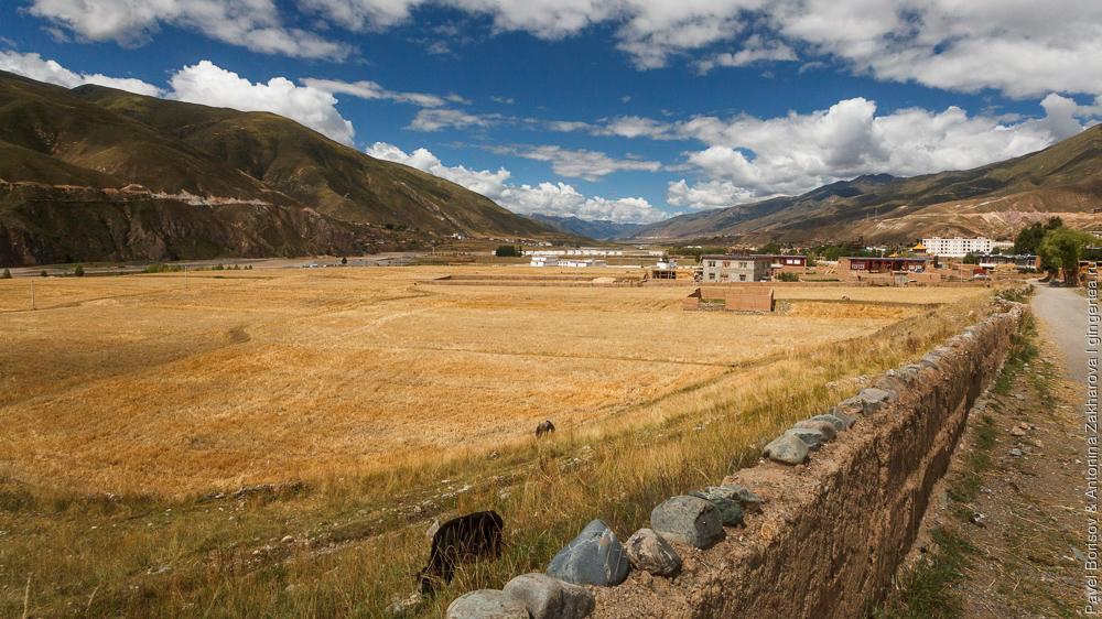 поля рядом с городком Люшо в Восточном Тибете