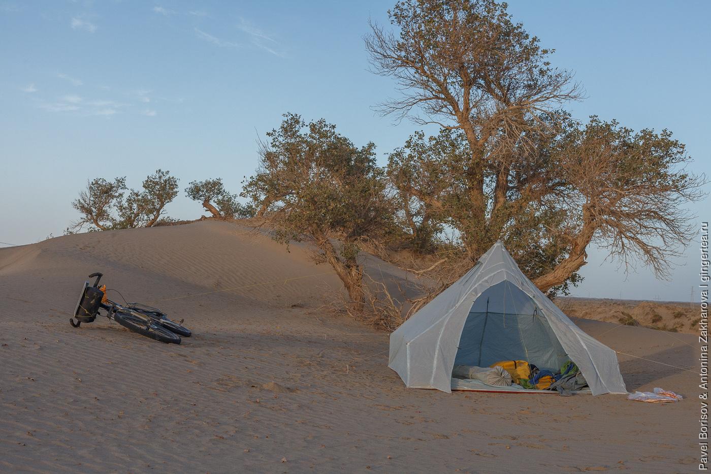 кемпинг в пустыне Такла-Макан