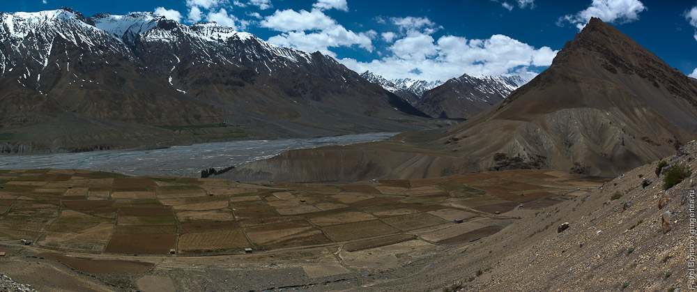 панорамная фотография долины Спити, panoramic view of Spiti valley