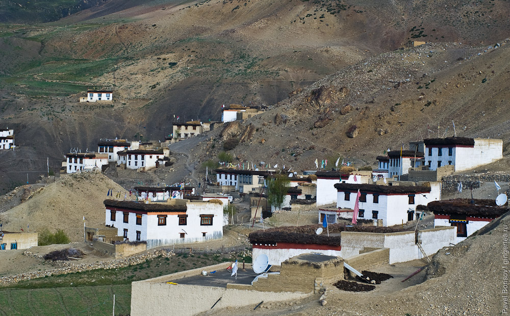 тибетская деревня Чичам в долине Спити, tibetan village Chicham in Spiti valley