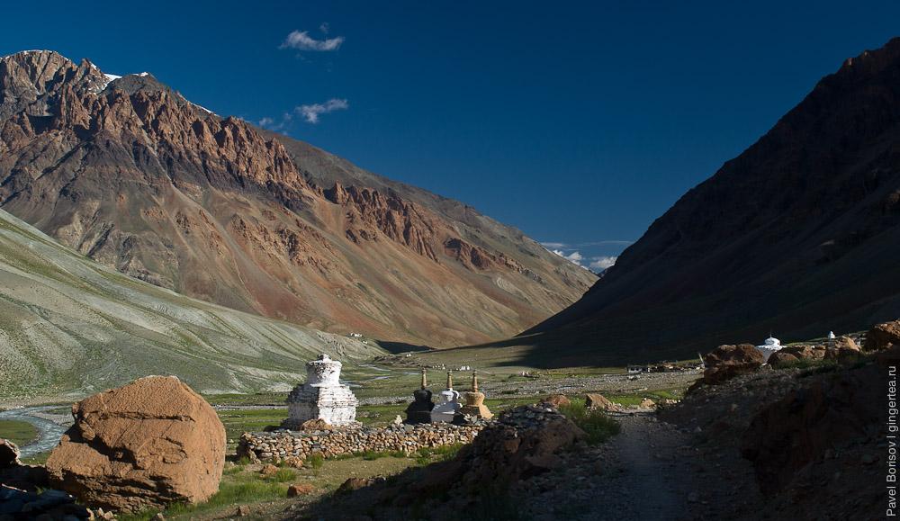Тибетские ступы и зеленые поля в долине реки Каргьяк-Чу, Занскар