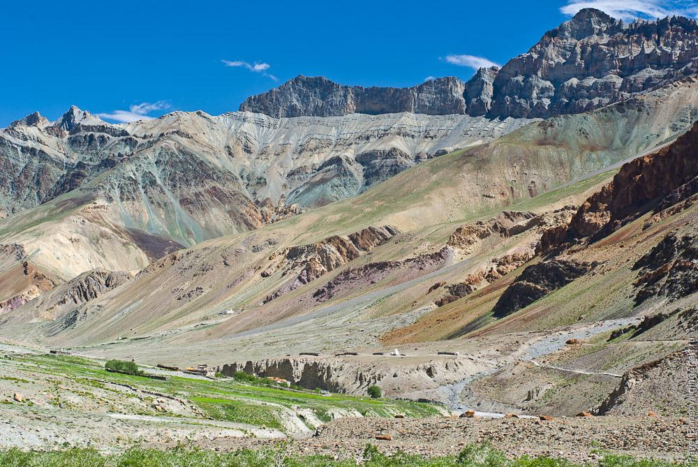 Разноцветные осыпи и скалы в долине реки Каргьяк-Чу, Занскар