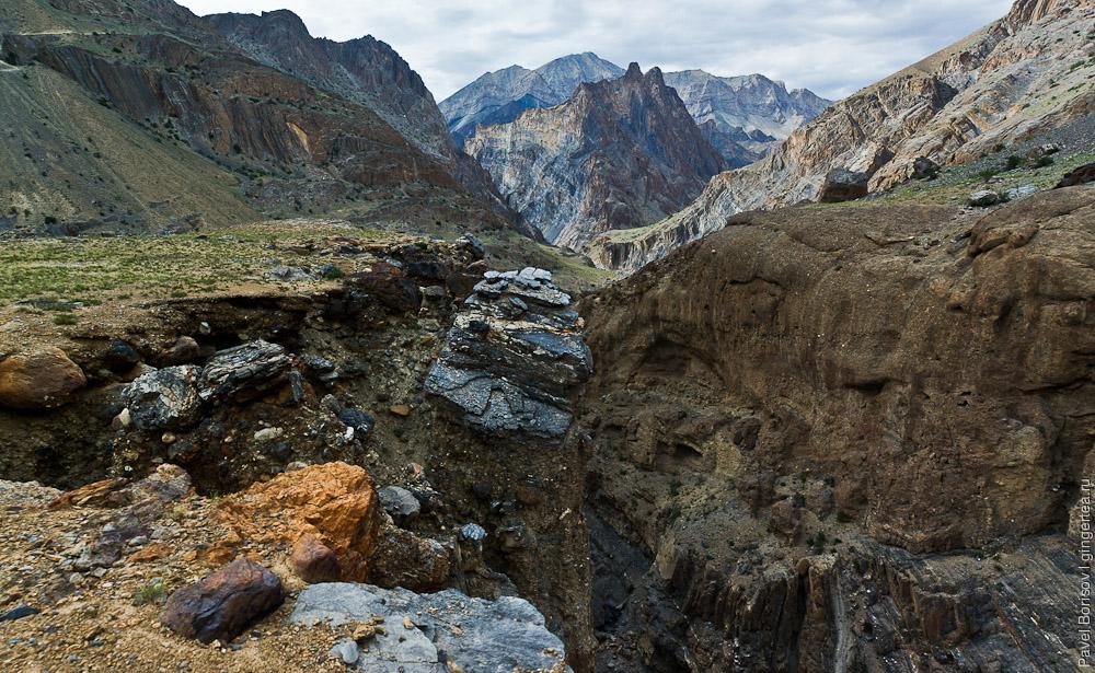 Вид сверху: узкий каньон притока реки Занскар в районе ее порогов, Индия