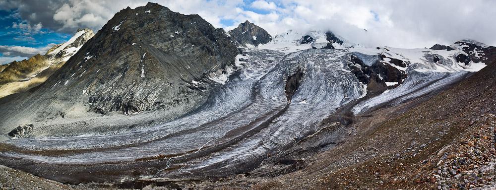 Перевал Чилунг-Ла, панорама южного ледника, Каргил, Индия