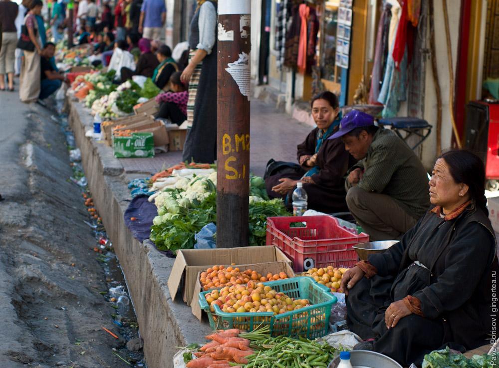 женщины продают свежие абрикосы в городе Лех, Индия