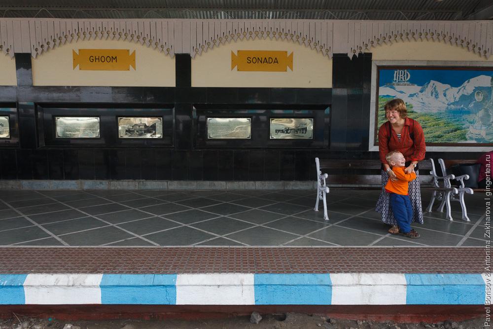 Узкоколейная платформа Силигури Siliguri Junction Дарджилингская Гималайская железная дорога
