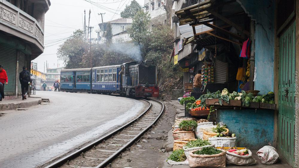 Узкоколейный тепловоз едет по узкой улочке Дарджилингская Гималайская железная дорога