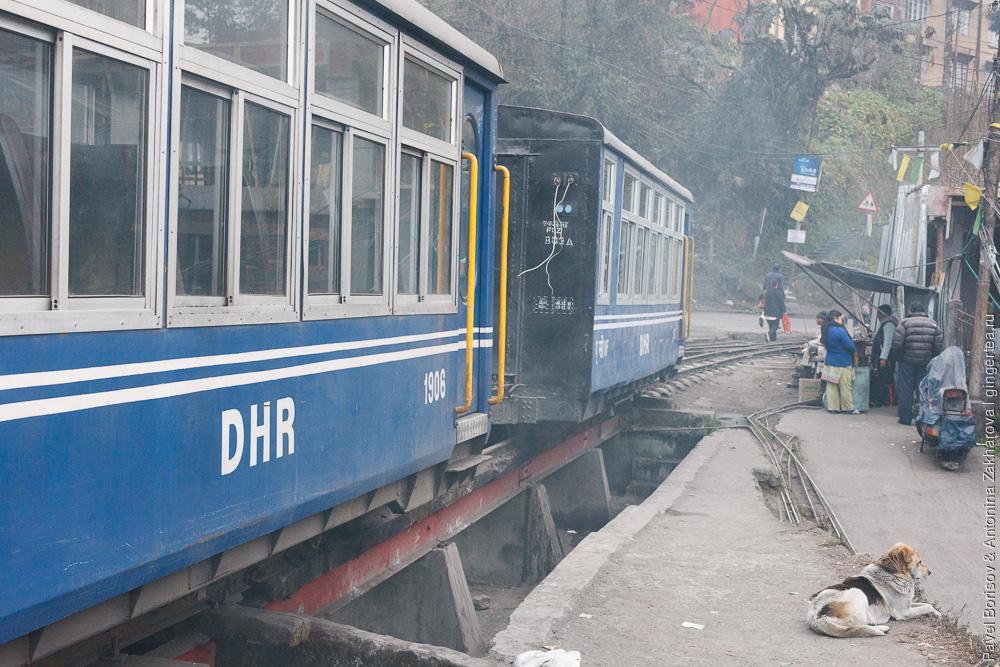 Вокзал в Дарджилинге, узкоколейные пассажирские вагоны,Гималайская железная дорога