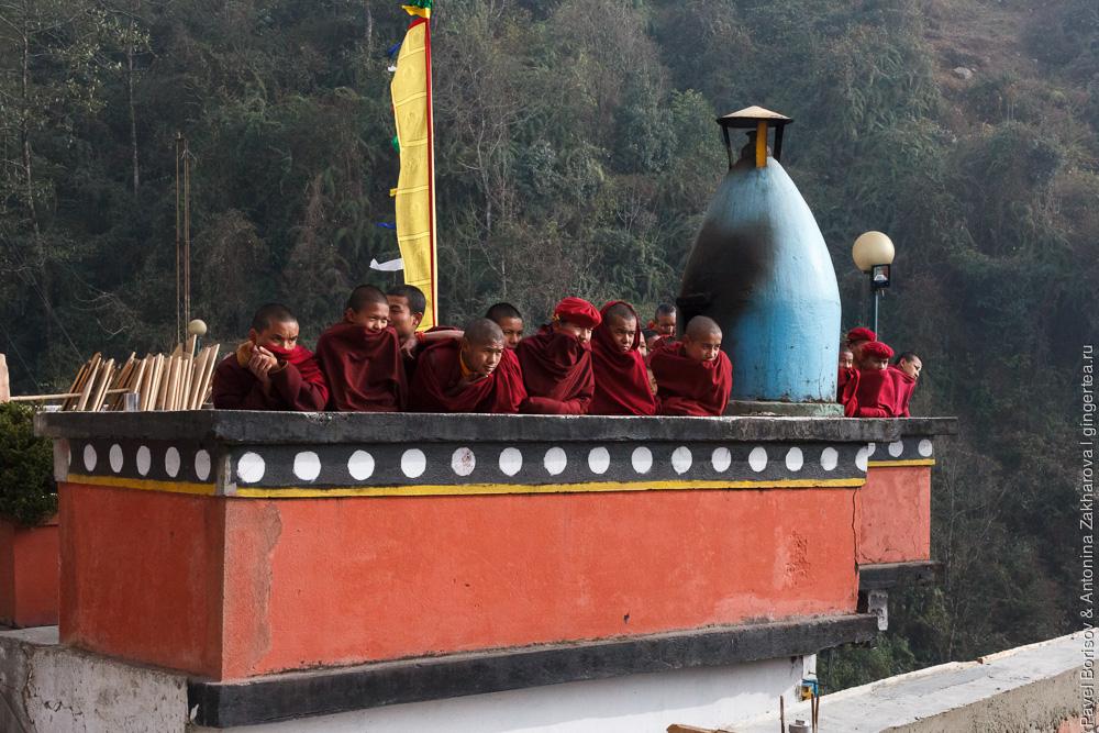 монахи в тибетском монастыре