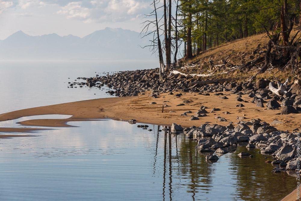 песчаный пляж на берегу озера Хубсугул в Монголии