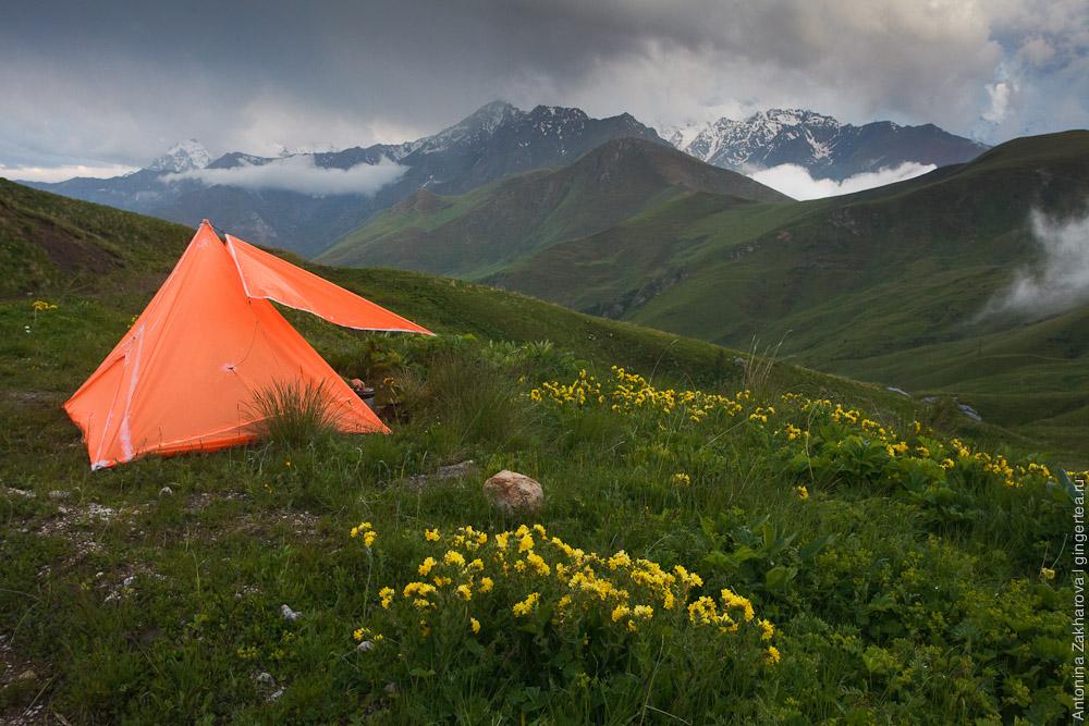 ночевка рядом с перевалом Саварафцаг